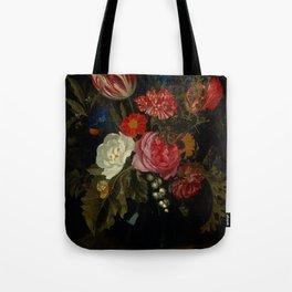 "Maria van Oosterwijck ""Flowers in a vase on a marble ledge"" Tote Bag"