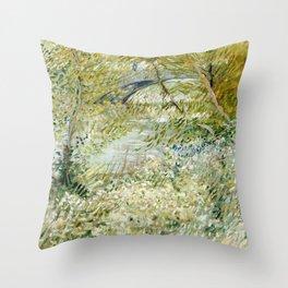 River Bank in Springtime Throw Pillow