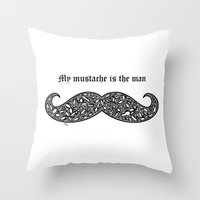 mustache Throw Pillows featuring Mustache by Rucifer