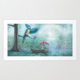 Parrot Waterfall by P.S. Brooks Art Print