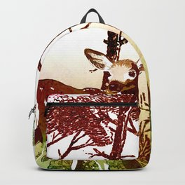 Deer Forest Watercolor Design Backpack
