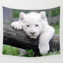 'Too Pooped to Pop' Baby Albino Lion Cub Wall Tapestry