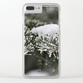 Snowy Evergreen Clear iPhone Case