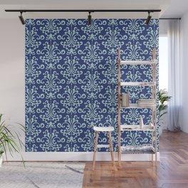 Custom Retro Blue Floral Pattern Wall Mural