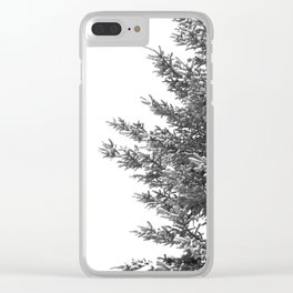 B&W Spruce Branches Clear iPhone Case
