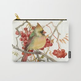 Cardinal Bird and Berries Carry-All Pouch