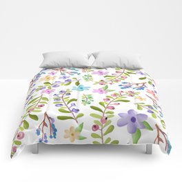 Pastel twigs floral waterolor pattern Comforters