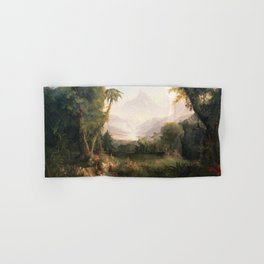 Garden of Eden Paradise with Penitent Adam and Eve landscape painting by Thomas Cole Hand & Bath Towel