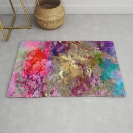 Galaxy, abstract, fire+ice gold accent Rug