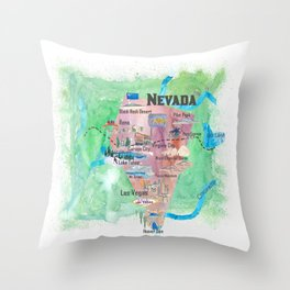 USA Nevada State Illustrated Travel Poster Favorite Map Throw Pillow
