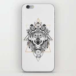 Wolf head portrait native american ethnic vintage illustration  iPhone Skin
