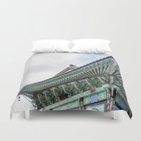 seoul Duvet Covers featuring Daeseongsa Temple, Seoul by Jennifer Stinson