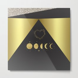 Faux Gold Moon Phases Gold Heart Metal Print