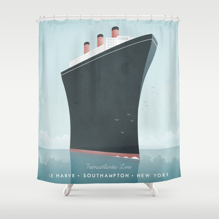 Vintage Travel Poster Cruise Ship Shower Curtain By Wetcake - Cruise ship shower
