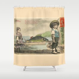 The April Fish - Vintage / Antique French Post Card - Piosson D'Avril - April Fools Day Shower Curtain