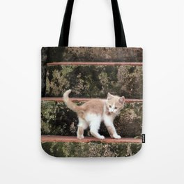 Cute Kitten Playing on the Stairs Tote Bag