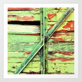 Green, rustic shed detail Art Print