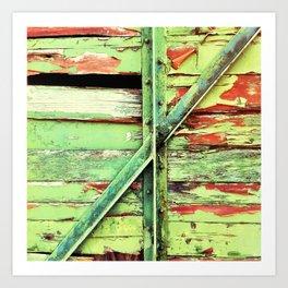 Green, rustic shed detail Art Print