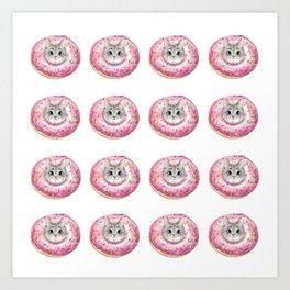 cat donuts pattern Art Print