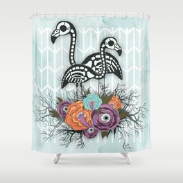 Flamingo Skeleton Halloween Composition Shower Curtain