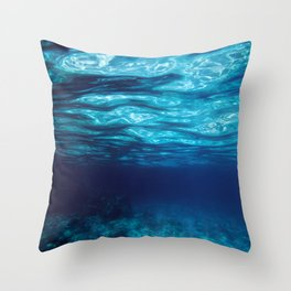 Blue Underwater Throw Pillow