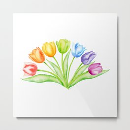 Rainbow Tulips, Spring Flowers Metal Print