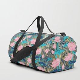 Art Deco Lotus Flowers in Pink & Navy Duffle Bag