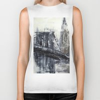 brooklyn bridge Biker Tanks featuring Brooklyn Bridge  by Kasia Pawlak