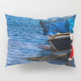 Boats at seaside in the turkish blue aegean sea Pillow Sham
