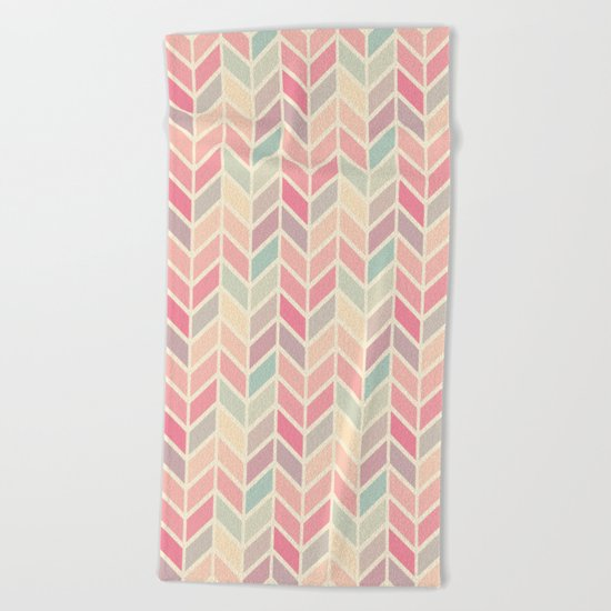 Pastel Chevron Geometric Pattern Beach Towel