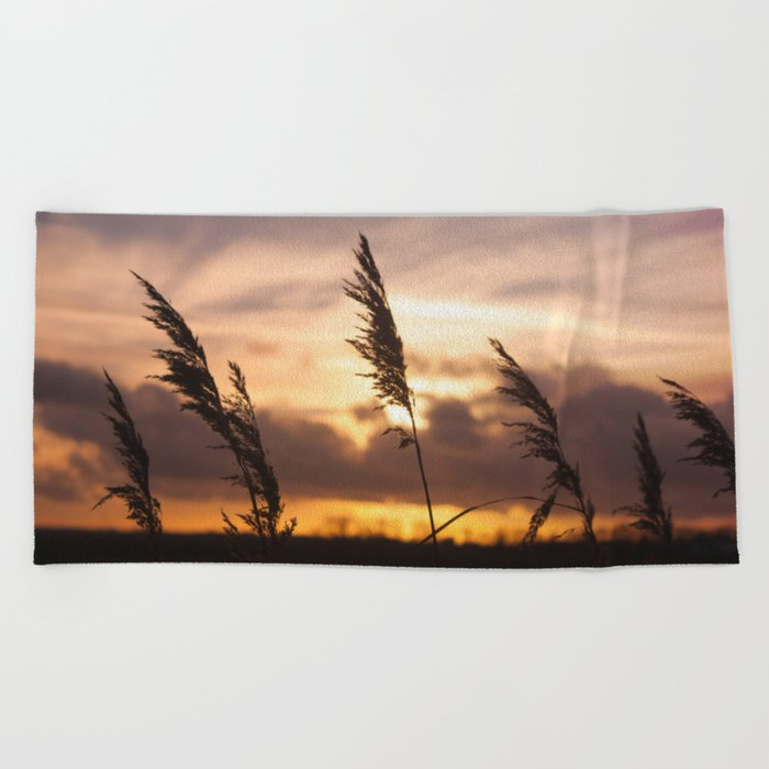 Sunset Night  Beach Towel