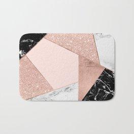 Modern rose gold glitter black white marble geometric color block Bath Mat