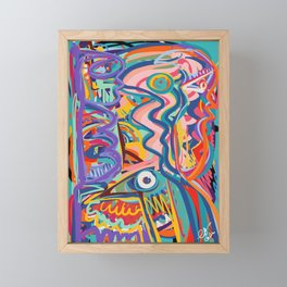 The Purple Kid with his Mother and the Bird Graffiti Art Expressionism Framed Mini Art Print