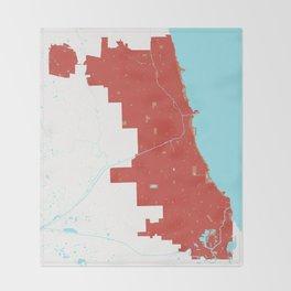 Chicago Illinois Minimalist Map (Peach) Throw Blanket