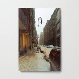 Soho snowing. Winter in New York Metal Print