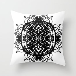 Black Aztec Floral Mandala Throw Pillow