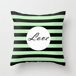 Vintage Love - Pastel green and black design Throw Pillow