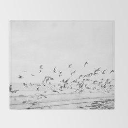 """Seagulls"" | Coastal black and white photo | Film photography | Beach Throw Blanket"