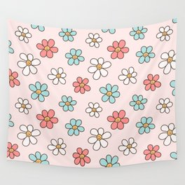 Cute Happy Colorful Smiling Daisies, Retro Smile Daisy Pattern in Soft Girly Pastel Blush, Pink and Mint Color Wall Tapestry