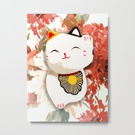 Japanese lucky cat, floral background. Metal Print