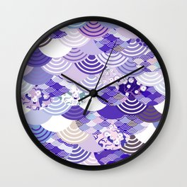 Nature background with japanese sakura flower, Cherry, wave circle. Ultra Violet Color of the Year Wall Clock