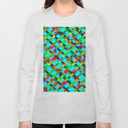 geometric pixel square pattern abstract background in green yellow blue orange Long Sleeve T-shirt