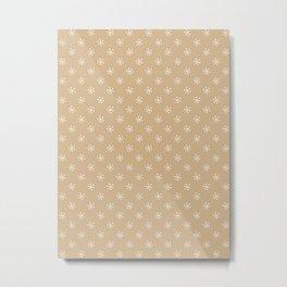 White on Tan Brown Snowflakes Metal Print