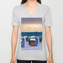 BEACH CHAIRS on the BALTIC SEA Unisex V-Neck
