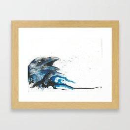 Blue crow Framed Art Print