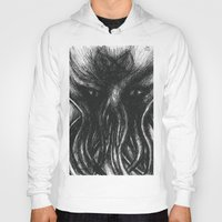 """cthulu Hoodies featuring Cthulu """"He is Risen"""" H.P. Lovecraft by judgehydrogen"""
