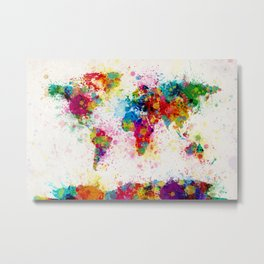 Map of the World Map Paint Splashes Metal Print