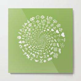 Greenery Love Symbol Mandala Metal Print
