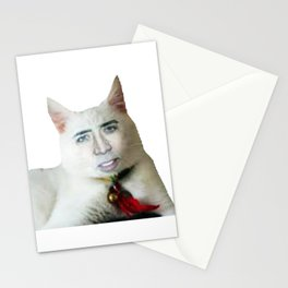 Nicolas Cage as Cat   Funny Meme   Nic Cage Face   Gift For Men, Woman Stationery Cards