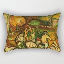 Figures in a landscape vintage art Rectangular Pillow